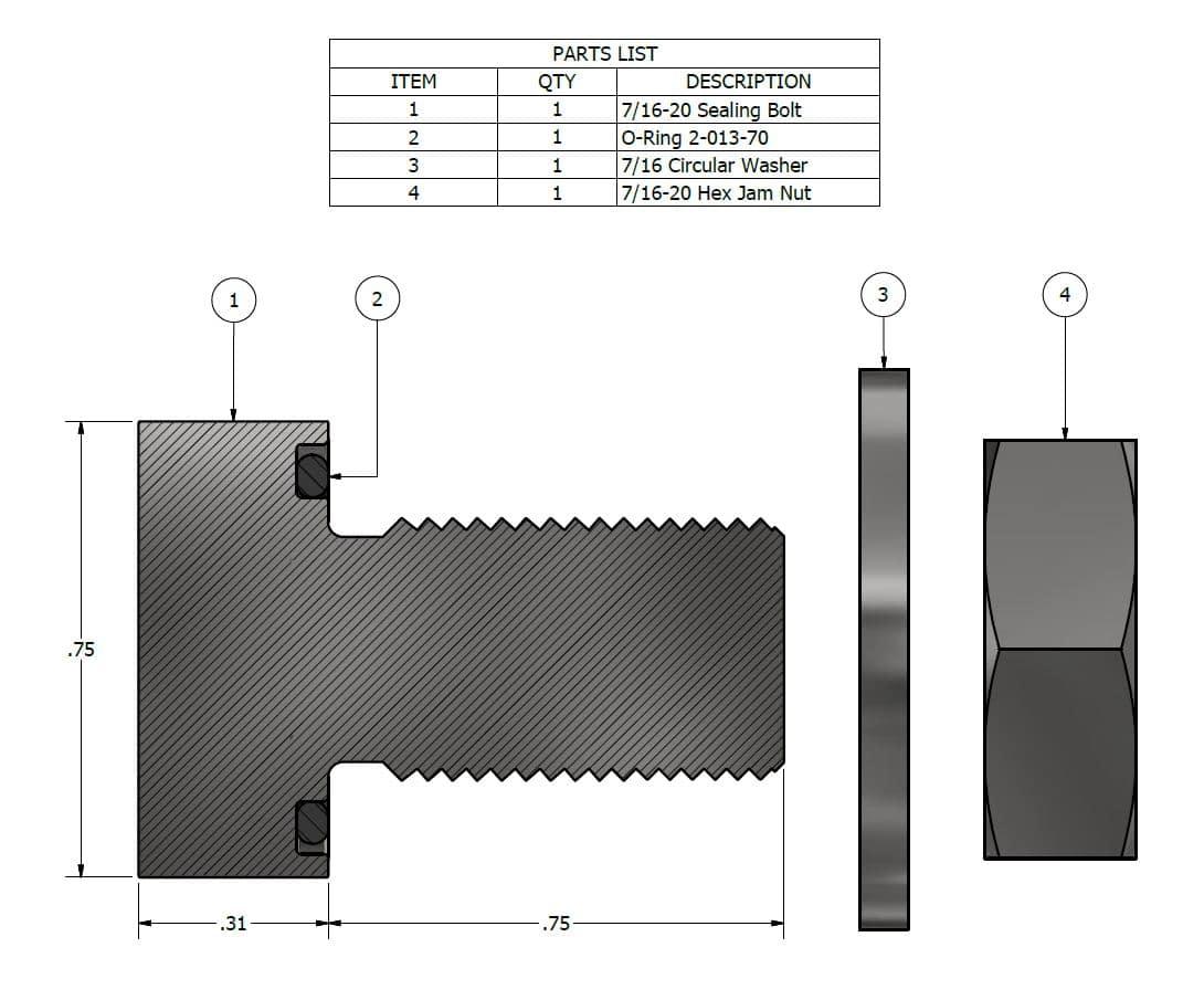 316SS Sealing Bolt Kit: 7/16-20